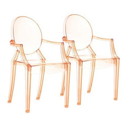 Zuo Anime Transparent Orange Dining Chair - If you can't afford the original but love the look, you're in luck! I like seeing the ghost style chairs in a color. It's a little more unique.