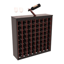 Wine Racks America - Two Tone 64 Bottle Deluxe Wine Rack in Redwood, Black and Cherry Stain + Satin - Styled to appear as wine rack furniture, this wooden wine rack will match existing decor while storing 64 bottles of wine. Designed to look like a freestanding wine cabinet, the solid top and sides promote the cool and dark storage area necessary for aging wine properly. Your satisfaction and our racks are guaranteed. All Two-Tone racks include a professional grade eco-friendly satin finish and come with a free matching magic bottle balancer.