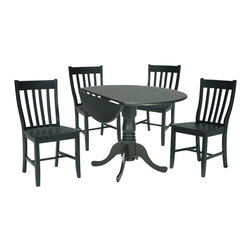International Concepts - International Concepts 3 Piece Schoolhouse Dining Set in Black - International Concepts - Dinette Sets - K4642DPC61P2 -