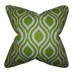 """The Pillow Collection - Poplar Geometric Pillow Chartreuse 18"""" x 18"""" - Bring this lovely accent pillow to your living space. Decorate your sofa, bed or seat with a few pieces of this decor pillow. Featuring a geometric design in shades of chartreuse green and white. This 18"""" pillow is a gorgeous addition to your collection. Made from 100% soft cotton material."""