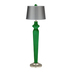 """Color Plus - Contemporary Envy Satin Gray Lido Floor Lamp with Color Finial - Envy green Color + Plus™ designer color floor lamp. Matching color ball finial. Gray satin shade. Satin steel finish accents. On-off rotary switch. Maximum 150 watt or equivalent bulb (not included). 62"""" high. Finial is 2 1/2"""" wide 3"""" high. 12"""" wide base footprint.  Envy green Color + Plus™ designer color floor lamp.  Matching color ball finial.  Gray satin drum shade.  Satin steel finish accents.  On-off rotary switch.  Maximum 150 watt or equivalent bulb (not included).  62"""" high.  Shade is 14"""" across the top 16"""" across the bottom 11"""" high.  Finial is 2 1/2"""" wide 3"""" high.  12"""" wide base footprint."""