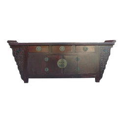 Golden Lotus - Vintage Chinese Lacquer Altar Cabinet Buffet Table Sideboard Console - This long altar table has dark red lacquer painted on the surface. There are Ru-yi and bats pattern carved on the side. The drawers and the shelf provide space for storage.
