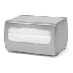 """Palmer Fixture - Table-Top Fullfold Napkin Dispenser, Brushed Steel - The Table-Top Napkin dispenser is designed for maximum durability and ease of use. The brushed steel construction allows for loading and dispensing from two sides. They dispense one napkin at a time. Holds napkins with folded size dimensions of 6 1/2"""" L x 6"""" H with a 3 1/2"""" fold height. Each dispenser is finished with soft rubber feet that will not leave marks on tables. Dimensions: 7 1/2"""" L x 6 1/4"""" W x 5 3/4"""" H"""