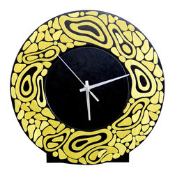 Irvin Studio and Design - Lava Clock, Lime - The Lava Clock is a freestanding clock perfect for mantles, end tables consoles and more.  Constructed of solid black lacquered maple with a lively array of dyed koto wood elements on the front face.  Available in a variety of colors.