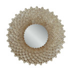 Bassett Mirror - Chloe Wall Mirror - This chrysanthemum-inspired wall mirror features richly layered texture and opalescent shimmer, making it a stunning piece for any contemporary or eclectic home.