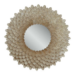 Bassett Mirror - Bassett Mirror Chloe Wall Mirror - This chrysanthemum-inspired wall mirror features richly layered texture and opalescent shimmer, making it a stunning piece for any contemporary or eclectic home.