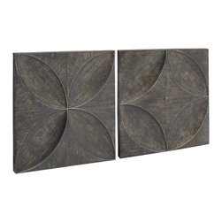 Vertuu Design - Ardal Hand Painted Embossed Metal Wall Art (Set of 2) - Decorate your walls using this set of Ardal Embossed Metal Wall Art. These hand-painted pieces feature embossed geometric designs in an antique brown finish. Display them individually or alongside one another for a gallery-style effect. Pair the pieces with rustic decor for a simple, cohesive look.