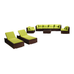 """Kardiel - Modify-It Outdoor Patio Furniture Sofa Chaise Lounge Maui 9pc Wicker, Lime Green - Dressed for the evening or sunbathing mid-day, the spectacular Maui 9-piece patio set lounges as well as it entertains. The centerpiece is the modern Grande' length 4 seat sofa. Effortlessly accommodate additional guests with the matching set of armless side chairs. Introduce the ritual of relaxed lounging to your day with a set of 2 personal chaise sun lounge adjustable beds. A tempered glass top coffee table completes the collection. The design origins are Clean European. The elements of comfort are inspired by the relaxed style of the Hawaiian Islands. The Aloha series comes in many configurations, but all feature a minimalist frame and thick, ample modern cube cushions. The back cushions are consistent in shape, not tapered in to create the lean back angle. Rather the frame itself is specifically """"lean tapered"""" allowing for a full cushion, thus a more comfortable lounging experience. The cushion stitch style utilizes smooth and clean hand tailoring, without extruding edge piping. The generously proportioned frame is hand-woven of colorfast, PE Resin wicker. The fabric is Season-Smart 100% Outdoor Polyester and resists mildew, fading and staining. The ability to modify configurations may tempt you to move the pieces around... a lot. No worries, Modify-It is manufactured with a strong but lightweight, rust proof Aluminum frame for easy handling."""