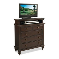 Home Styles Bermuda TV Media Chest - Espresso - The Home Styles Bermuda TV Media Chest - Espresso is a compact television stand that's perfect for the master bedroom or studio apartment. Constructed from sturdy engineered wood, this traditional-style media chest features a rich espresso finish and is accented with antique brass hardware. Four storage drawers are included in the design, perfect for storing movies, music, video games, and other accessories, while the open storage compartment fits most standard size DVD players and gaming consoles. Most average-sized flat panel televisions (up to about 40 inches) can be handsomely displayed on the top surface. Some assembly is required.About Home StylesHome Styles is a manufacturer and distributor of RTA (ready to assemble) furniture perfectly suited to today's lifestyles. Blending attractive design with modern functionality, their furniture collections span many styles from timeless traditional to cutting-edge contemporary. The great difference between Home Styles and many other RTA furniture manufacturers is that Home Styles pieces feature hardwood construction and quality hardware that stand up to years of use. When shopping for convenient, durable items for the home, look to Home Styles. You'll appreciate the value.