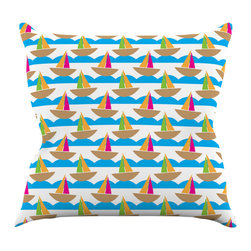 """Kess InHouse - Apple Kaur Designs """"Beside the Seaside"""" Boats Throw Pillow (16"""" x 16"""") - Rest among the art you love. Transform your hang out room into a hip gallery, that's also comfortable. With this pillow you can create an environment that reflects your unique style. It's amazing what a throw pillow can do to complete a room. (Kess InHouse is not responsible for pillow fighting that may occur as the result of creative stimulation)."""