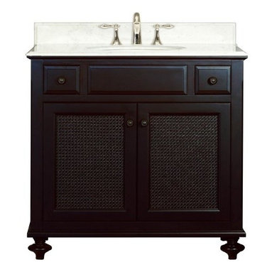 """Water Creation Inc. - London Collection 36"""" Wide Single Sink Vanity - The Water Creation London Collection 36"""" single sink bathroom vanity is perfect for the bathroom project that demands a striking focal point. This Espresso finished vanity features 2 doors, 2 drawers and a Carrara White Marble counter top with backsplash. The counter top is pre-drilled for 8"""" wide spread lavatory faucets."""