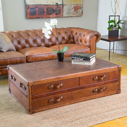 Christopher Knight Home - Christopher Knight Home Aldrin Steamer Coffee Table Chest - Upholstered in top grain leather with antique stud detailing the quality of this table will make a statement in any room of your home.