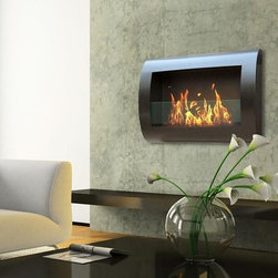 """Anywhere Fireplace Chelsea 28"""" x 19"""" Black Indoor Wall Mount Fireplace - This wall mount, gracefully curved Chelsea model of theAnywhere Fireplace™ has sleek contemporary design that will make a statement in any room. It works with any décor. The dancing flames you will have will create a warm, mellow, luxurious atmosphere. It will create a focal point of distinction in your living room, bedroom, family room, dining room… anywhere you wish to enjoy a fire. Easy to install on the wall and all mounting hardware is included."""