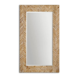 "Uttermost - Demetria Chevron Pattern Accented With A Light Gray Glaze Rectangular Mirror - This Stately Mirror Features A Chevron Patterned, Solid Wood Frame Finished With A Light Gray Glaze. Mirror Has A Generous 1 1/4"" Bevel. May Be Hung Horizontal Or Vertical. Frame Dimensions: 43.75""W X 74""H X 2.125""D; Mirror Dimensions: 30""W X60""H; Finish: Chevron Pattern Accented With A Light Gray Glaze; Material: Fir Wood, MDF, GlassYes; Beveled: ; Shape: Rectangular; Weight: 59; Included: Brackets, Ready to Hang Vertically or Horizontally"