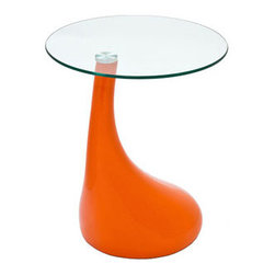 """LexMod - Teardrop Side Table in Orange - Teardrop Side Table in Orange - Extend a small form throughout the cosmos with this perpetuating piece. Teardrop acts without dictation, with a fluid shape that establishes a normal and settled pace to your room. Turn tiny expressions of emotion into a rejuvenating experience with this side table of import. Set Includes: One - Teardrop Side Table Perfect living room accent piece, Sleek body with an arching curve, Fiberglass body with clear tempered glass top Overall Product Dimensions: 18""""L x 18""""W x 21""""Hbrase Dimensions: 16""""L x 16""""W x 22""""H Glass Dimensions: 20""""L x 20""""W x 2""""H - Mid Century Modern Furniture."""