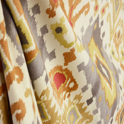 Swavelle - Alessandro Spice Grey Beige Cream Rust Ikat Damask Drapery Fabric By The Yard - With a southwest ethnic flair, Alessandro Spice is an ikat damask in grey, rust, beige and cream.  This cotton fabric is great for pillows, bedding, window treatments and lightweight upholstery.