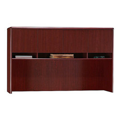"""Bush - Credenza Hutch w Storage Compartments - North - The nearly 60"""" wide Northfield Credenza Hutch with Storage Compartments fits neatly on top of the Northfield Credenza, vastly increasing its storage space.  This well-designed hutch includes open and concealed storage compartments, and has a raised back panel for wire access. * 8-way rounded radius edges. Concealed overhead storage frees up desk surface. Open compartments for easy access to work in progress. Self-closing European style hinges on hutch doors. Attaches to Credenza. 59.252 in. W x 11.535 in. D x 36.535 in. H"""