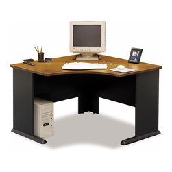 Bush Business - Corner Desk Workstation w Medium Cherry Stain - Make the best use of space with our Medium Cherry Corner Desk featuring a scratch and stain resistant work area.  Add an articulating keyboard shelf, a pencil drawer, and/or a top hutch to provide storage and keep all your paperwork organized.  A corner desk that is a no-nonsense, functional work space, this desk is scratch and stain resistant with a beautiful Cherry Stained finish.  The broad base gives ample leg room and the spacious flattop optimizes the amount of workspace provided.  Whether you're selecting the right computer desk for your office space or dorm room, this handsome cherry corner computer desk is skillfully crafted for optimal performance. * Scratch and stain resistant Diamond Coat� top surface. Steel insert in molded feet w levelers. Top and leg wire access/concealment. Medium cherry finish. Item ships ready for easy assembly. 47.165 in. W x 47.165 in. D x 29.764 in. H