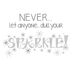 "WallPops - Dull Your Sparkle Wall Quote - You are one in a million! This wall quote, ""Never let anyone dull your sparkle!"" reminds you to shine! Positive and upbeat, these words on your wall are adorable and inspiring. A great idea for dorm Decor, the sparkle wall decal smiles back at you every day and comes with lots of cute star burst stickers to complete the look."