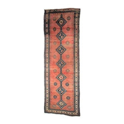 "Pre-owned Antique Caucasian Runner 12'-7"" x 4'-3"" - An elegant Caucasian runner with soft silky wool and beautiful jewel tone colors, from the early 1900s.    151"" x 51"""