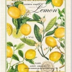 Michel Design Works Lemon Kitchen Towel, Natural Woven Cotton - This vintage-inspired lemon-print tea towel is perfection!