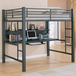 Coaster - 460023 Workstation Loft Bed - The lofted full size bed features full length guard rails for safety and built-in side ladders for convenient access. Underneath the lofted bed is a desk with a keyboard tray. A large shelf provides room for decorative items, books, and study materials.