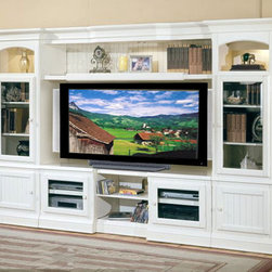 Parker House Entertainment Center, Hartford - This entertainment center has space for your big-screen TV, speakers, recorders and books. If you would rather not have white, darker finishes are also available.