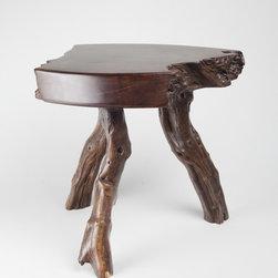 """the King's Stool"" by Rod Hiemstra, right view - Walnut burl top, manzanita base, epoxy resin."