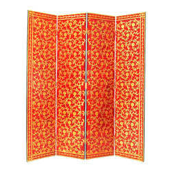 Wayborn - Wayborn Golden Vine Room Divider in Red/Gold - Wayborn - Room Dividers - 2210 - Wayborn coromandel screen start with a cedar plywood frame covered in a cheesecloth material. Then layer after layer of plaster is applied; each layer must dry before another layer can be applied. After all the plaster has been applied several coats of lacquer is put over the entire surface. The design is drawn onto life-sized paper and carefully traced on to the panels. The craftsman then hand carves the design into the screen through the lacquer into the plaster. Once the screen is done it is painted with water based paint or silver/gold leaf is applied and sealed with a clear lacquer coat.