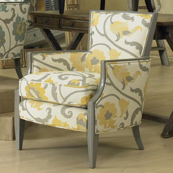 Sam Moore - Sam Moore Nadia Exposed Wood Chair - Citron Multicolor - 4508.21/ZIRCONA CITRON/ - Shop for Living Room Chairs from Hayneedle.com! With its oversized citron yellow and truffle grey floral print and sleek profile the Sam Moore Nadia Exposed Wood Chair - Citron is a breath of fresh designer style. The exposed wood trim and slender legs are finished in a truffle grey for the right amount of contrast. Its blendown seat cushion and welt trim create a look tailor made for you. About Sam MooreSince 1940 Sam Moore's hand-crafted upholstered furniture has offered extraordinary quality comfort and style. This Bedford Virginia-based company proudly crafts its products right here in the USA. From classic to transitional to contemporary styles Sam Moore takes time with every detail making sure each piece is something you'll appreciate in your home.