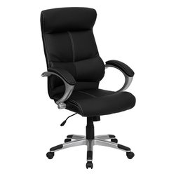 Flash Furniture - Flash Furniture High Back Black Leather Executive Office Chair - This black High back Executive Office chair features soft leather upholstery with baseball glove stitching. With built-in lumbar support, a well-padded seat and back, and padded loop arms this is sure to bring a stylish addition to your office. chair features a silver nylon base with black caps that prevent feet from slipping. [H-9637L-1C-HIGH-GG]