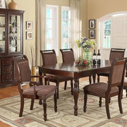 Crown Mark - 7-PC Traditional Dining Room Set in Dark Cherry Finish - 59SETD2225 - traditional style
