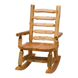Rocking Chair with Log Backrest - Enjoy lazy afternoons on the porch or in front of the television with the Log Rocking Chair. The contoured seat and flat front backrest provide surprising comfort as well as beauty to your decor. Individually hand crafted from Northern White Cedar logs with a clear-coat catalyzed lacquer finish for extra durability. Cedar logs are hand peeled to accentuate their natural character and beauty. Chair measures 25 Inch W x 37 Inch D x 41 Inch H.