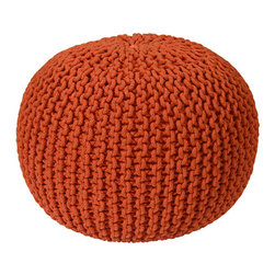 St. Croix Trading Orange Cotton Rope Pouf Ottoman - Every room needs a pouf. They're the best instant seating for guests with strong cores.