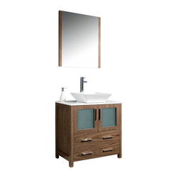 "Fresca - Torino 30"" Walnut Brown Vanity w/ Vessel Sink Soana Brushed Nickel Faucet - Fresca is pleased to usher in a new age of customization with the introduction of its Torino line.  The frosted glass panels of the doors balance out the sleek and modern lines of Torino, making it fit perfectly in eithertown or country decor."