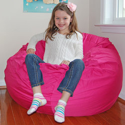 Ahh Products - Ahh Products Hot Pink Organic Cotton Washable Bean Bag Chair - This adorable organic bean bag chair is perfect for your child. Featuring a washable eco-friendly organic cotton cover,water-repel liner,and double stitched seams,this bean bag chair is sure to be a favorite in your home.
