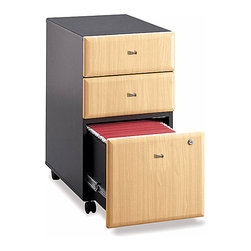 Bush Business - Assembled 3-Drawer Cabinet w Casters - Series - Three-drawer vertical filing systems provide the extra benefits of storage space for office supplies and hanging folders.  Pre-assembled black case with casters is a smart choice for versatile offices.  Beech finished fronts feature unique drawer pulls and single lock security.  The soft, blonde Beech finish on the front of each drawer is tastefully highlighted by the matte black structure of this versatile file and storage cabinet.  It rolls under any Series C desk shell and offers to hold the most important of file sizes. * Rolls under any Series C desk shell. File drawer holds letter- or legal-size files. Fully finished drawer interiors. Fully assembled case goods. File drawer extends on full extension, ball-bearing slides. One lock secures bottom two drawers. File drawer holds letter- or legal-size files. Casters for easy mobility. Fits under desks. Fully assembled case goods. 15.512 in. W x 20.276 in. D x 28.150 in. H