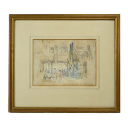 Lavish Shoestring - Consigned Market Scene Pencil Sketch by Hercules Brabazon Brabazon, Antique Engl - This is a vintage one-of-a-kind item.