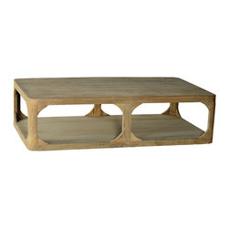 Boston Large Coffee Table, Light Wood - With a rustic matte finish that appears as though the wood were left untreated, this footless coffee table presents a large top and lower shelf for open storage and display. Three vertical supports on each long side are bolstered with charming curved side supports, lending to the table's handmade look. Ideal for a chic country home - or as an eclectic piece to soften rugged industrial d�cor - this large coffee table makes for a wonderful gathering place.
