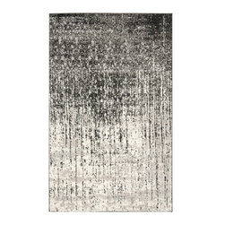 Safavieh - Retro Black/Gray Area Rug RET2770-9079 - 5' x 8' - Safavieh channels the Sixties with Retro Shag, a cool new spin on the essential floor covering of mid-century modern style. The perfect complements to clean-lined furniture of the period, these chic black and white designs morph into tones of gray, silver and ivory in patterns from Pollack-inspired abstracts to contemporary graphics. Machine-loomed in Turkey of 100 percent polypropylene, our low-pile Retro Shag rugs combine beauty, easy care and outstanding performance.