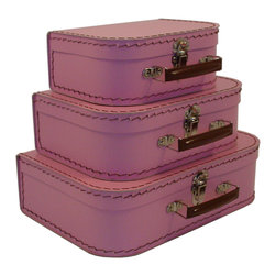 Cargo - Cargo Traveler Mini Suitcases, Set of 3, Pink Blush - Retro style mini suitcases.  Set of 3.  Super cute carry cases.  Delightful decorative storage for supplies, small toys, etc.  Unique gift packaging, party favors, craft project.  An eco-friendly product.