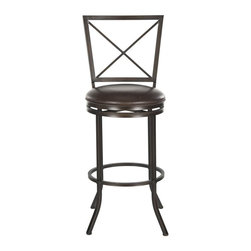 Safavieh - Pantin Barstool - The light and airy Pantin swivel barstool is designed to allow clear vistas from the kitchen bar through to the family room. Crafted of iron with cross-back detail and brown finish, this comfy barstool comes with a plush seat cushion of brown PU leather.