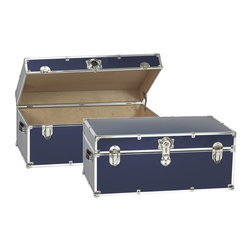 Artisans Domestic - Storage Trunk in Navy Blue - Vintage style. Handcrafted. Lined with cabinet grade birch. Removable storage tray. Wheels and leather strap handles for moving easily. Steel latches and a lock with two keys. Heavy gauge steel trim and corner pieces. Made in USA. 32 in. W x 18 in. D x 14 in. H (39 lbs.)The Artisans Domestic Heirloom Steamer Trunk can be used for toys, games, clothes, keepsakes, a memory box or even as a coffee table. Add your own college logos or decals or just let the modern retro design speak for itself.
