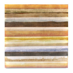 """Vertuu Design - 'Inertia II' Artwork - A warm color palette and clean lines combine to give the """"Inertia II"""" Artwork its bright, sleek look. Its horizontal, bleeding stripes in earth-toned colors evoke images of desert sands and mountain ranges. Pair this hand-painted canvas with Southwestern design elements for a cohesive feel."""