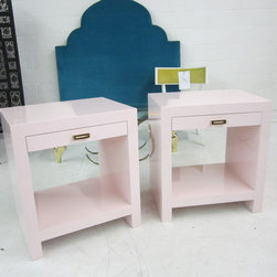 Custom Pink Lacquered Nightstands - We custom built these lacquered night stands for a client. We love the hardware too!
