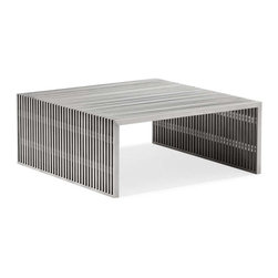 Zuo Modern - Zuo Modern Novel Square Coffee Table Stainless Steel - Like support beams in a high rise, the Novel series is strong and sturdy. Made from 100% stainless steel.