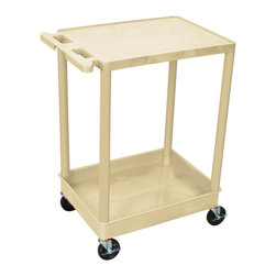 Luxor Furniture - Tub Utility Cart w Casters in Putty - Four heavy duty 4 in. casters, two with brake. Stain, scratch, dent and rust resistant. 2.75 in. deep tub shelf. Push handle molded into flat top shelf. Reinforced with two aluminum bars. Retaining lip around back and flat shelves sides. Weight capacity: 300 lbs.. Made from high density polyethylene structural foam molded plastic. Made in USA. 18 in. L x 24 in. W x 35.25 in. H. Warranty. Assembly Instructions  . Warranty