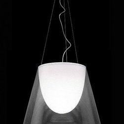"""Flos - Flos K tribe pendant   suspension - The external diffuser is completelty finished with a high-vacuum aluminization process. The Miss K table lamp has a conventional dimmer for 0 to 100% luminosity adjustment with transparent cover fitted on the transparent polarized. Item is in stock and ready to ship!! UL listed.   Product description:  The Flos K Tribe pendant light is designed by Phillipe Starck. Suspension lamp provides diffused light. Transparent polymethylmethacrylate (PMMA) diffuser with internal aluminized coating. Second internal diffuser is made from opal white polycarbonate. Single support cable and power cord. White ceiling canopy. K tribe S1 is only available in a silver version.     Details:     Manufacturer:  Flos   Designer:  Phillipe Starck   Made in: Italy   Dimensions:   S1 Overall height: 180"""" (457.2 cm) X Shade Height: 7.4"""" (18.8 cm) X Shade Diameter: 9.3"""" (23.6 cm)  S2 Overall height: 180"""" (457.2 cm) X Shade Height: 11.8"""" (30 cm) X Shade Diameter: 15.6"""" (39.6 cm)  S3 Overall height: 180"""" (457.2 cm) X Shade Height: 17.5"""" (44.5 cm) X Shade Diameter: 21.6"""" (54.9 cm)     Light bulb:   S1 max. 75W G9,   S2 max. 150W Halogen  S3 max. 250W Halogen   Material: polymethacrylate/ polycarbonate"""