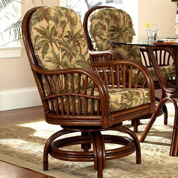 Boca Rattan - Amarillo Rattan Game Chair in Urban Mahogany - Fabric: 641A crossed stitched weave and a graceful curved bamboo base gives this rattan game chair an appealing warmth that will easily enhance your home's decor. Ideal on an enclosed patio or sun room, the chair features a cushioned seat in your choice of captivating color and pattern options. Cushion included. Cross-stitched weave design. Indoor use only. Leather bindings. Constructed from strong and durable rattan. 24 in. W x 24 in. L x 33 in. H (45 lbs.)