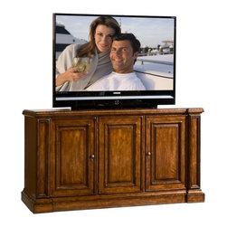 "Sligh Furniture - TV Console w Cord Management - TV Console with storage. Left and right side soft-closing hinged doors conceal two adjustable wood shelves. Center door with optional speaker cloth panel conceals one adjustable height wood shelf and two ""multi-flex"" media drawers. Infrared ""smart eye"" allows for remote control of concealed electronic components. Surge suppressor. Cord management. Heat escapement. Accommodates Sligh strong arm and Sligh smart fan. Accommodates televisions up to 59.75 in. W x 22.625 in. D x 37.75 in. H. Made from wood. 73.50 in. W x 25.50 in. D x 38.75 in. H"